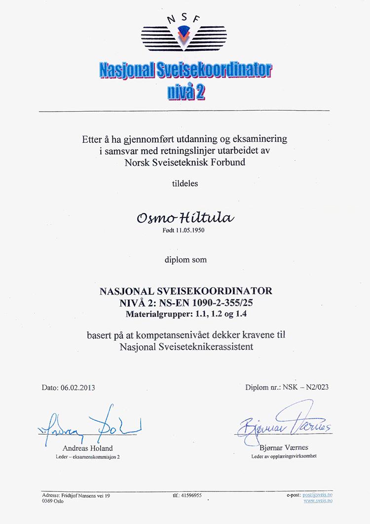 Diplom National Sveisekoordinator 1090-2, nivå 2