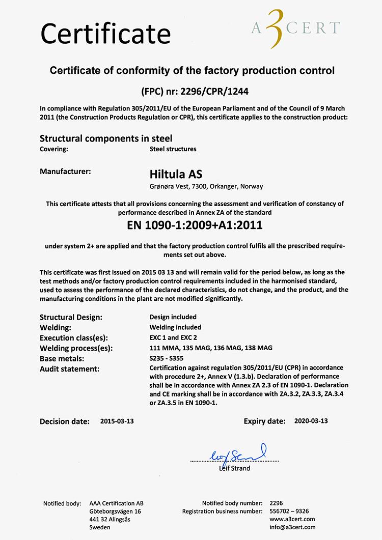 Hiltula AS_sertifikat_EN 1090_engelsk
